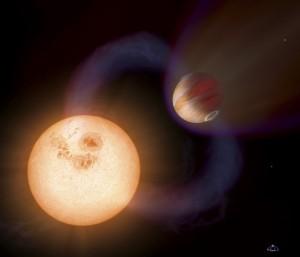 Recreación de un 'Júpiter caliente' similar a WTS-1b, pero con una órbita más rápida y cercana a su estrella, descubierto por el Hubble. Imagen: NASA, ESA, A. Schaller.